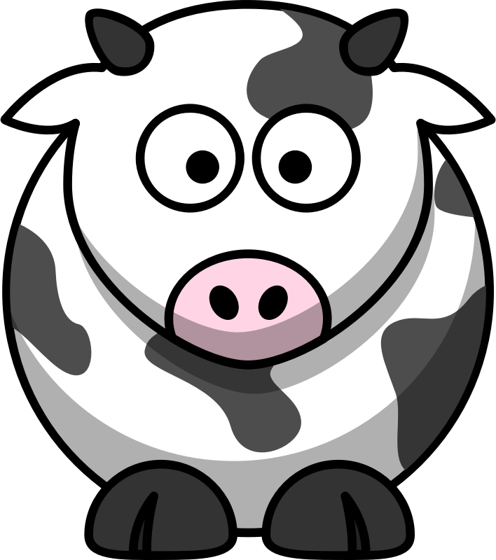 Rounded Cartoon Cow Drawing.