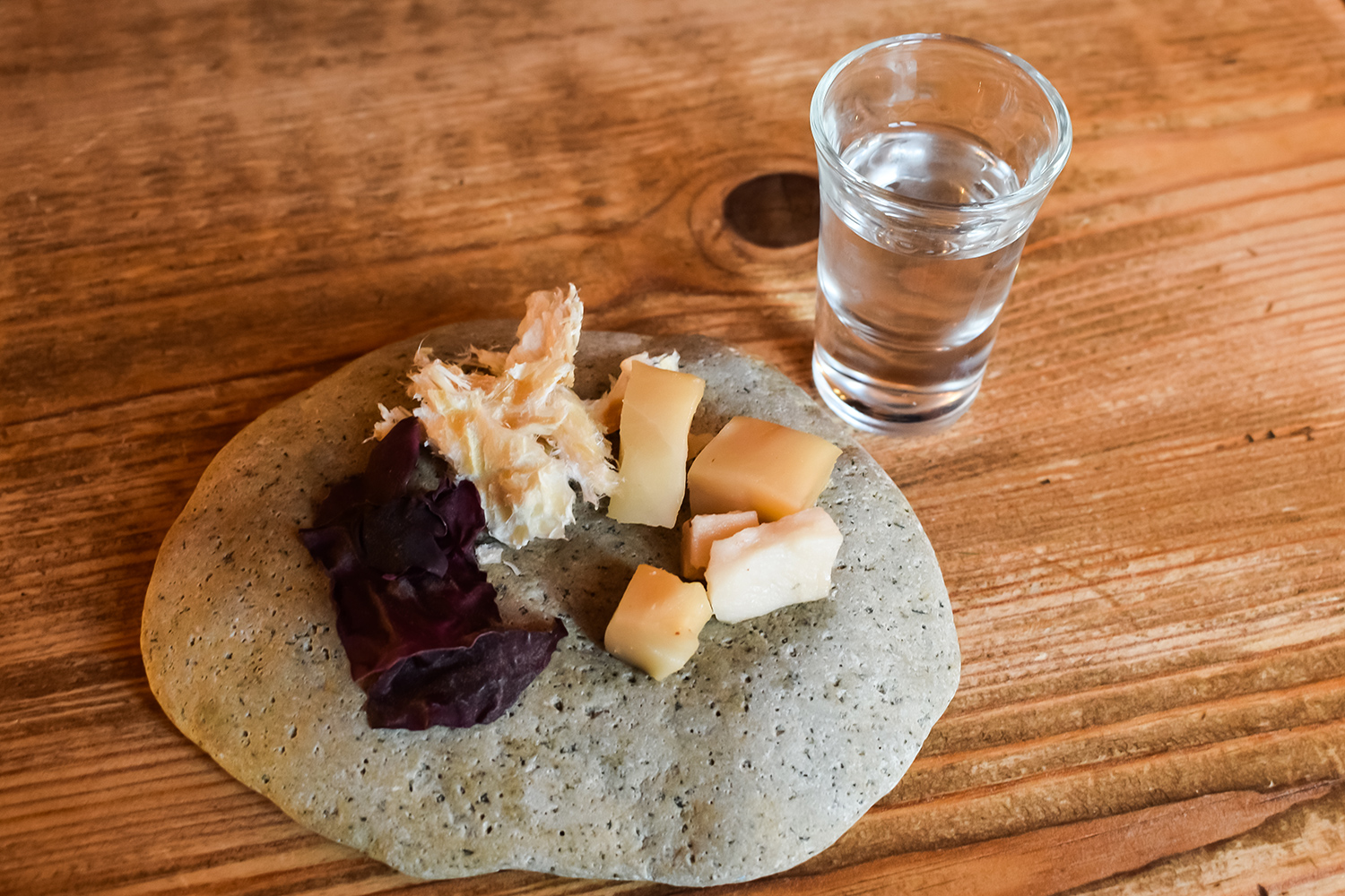 Fermented shark with vodka.