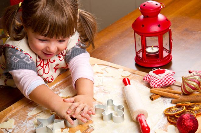 Girl Making Cookies.