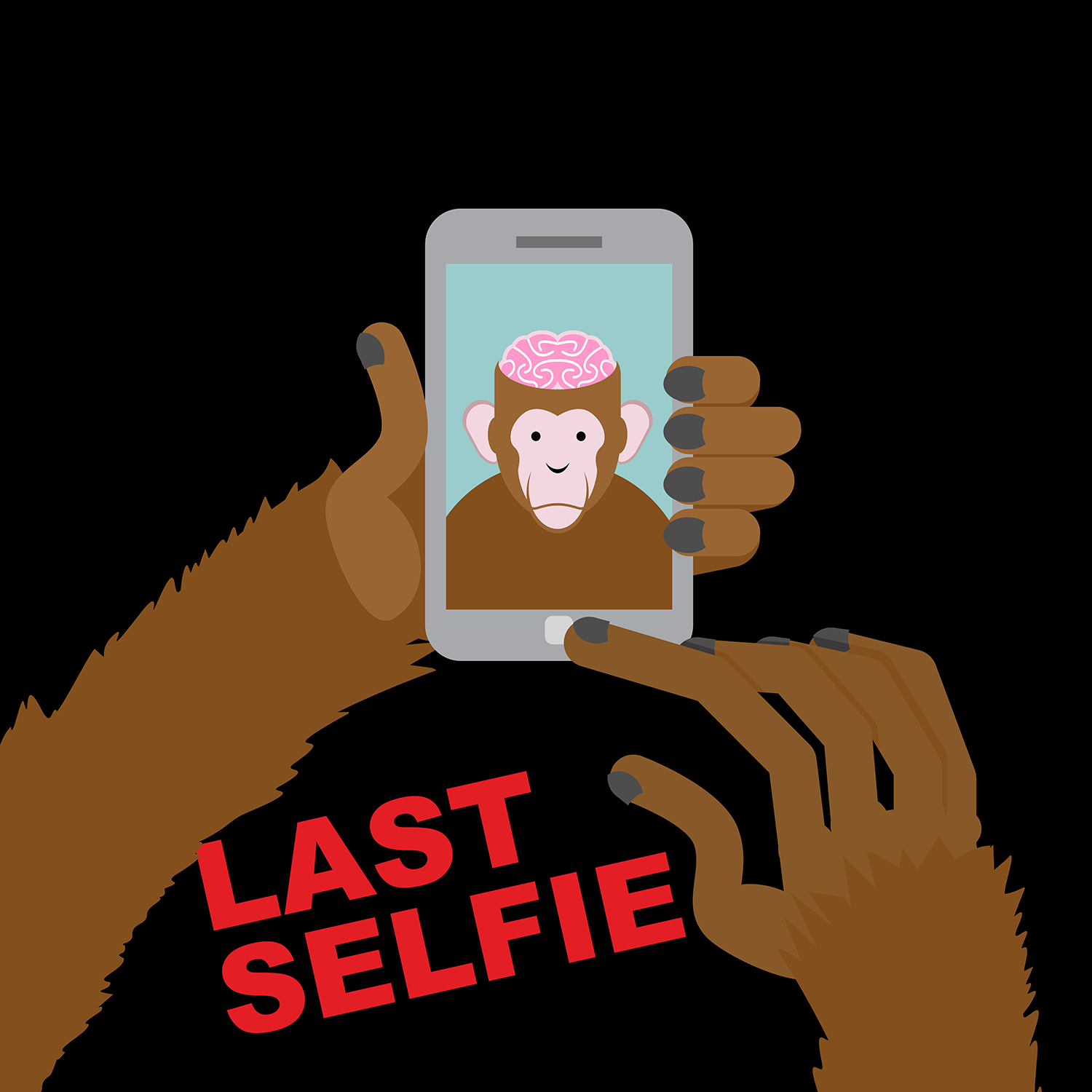 Monkey with exposed brain taking his last selfie on his cell phone.
