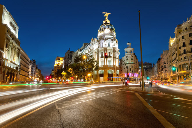 Alcala and Gran Via Street in Madrid at Night.