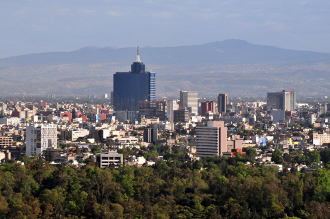 Aerial view of Mexico City Skyline.