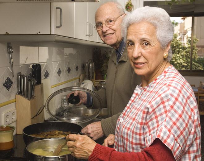 Senior Couple Cooking.