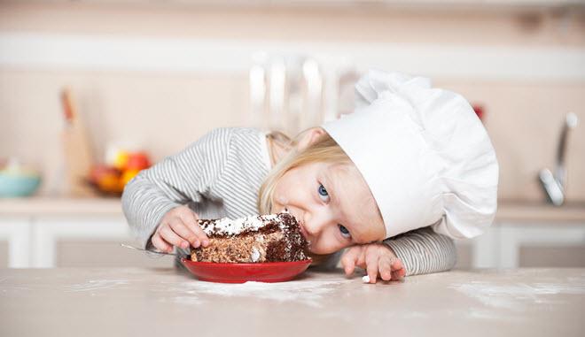 Young Girl Eating.