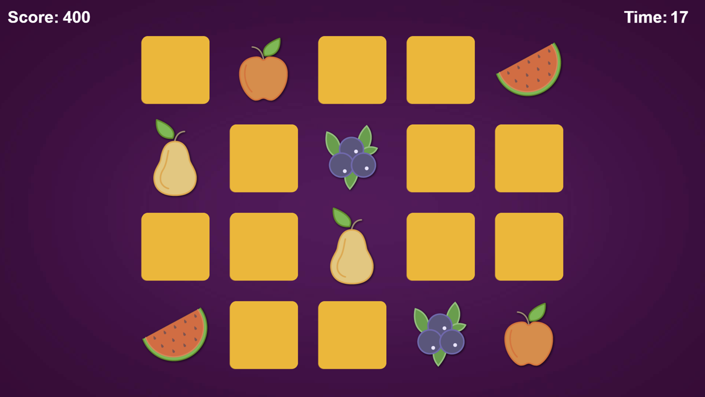 Fruits Memory Game.